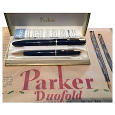 Parker Duofold Pen Set with Original Advert 1930s