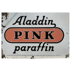 Aladdin Pink Paraffin Enamelled Sign 1920s