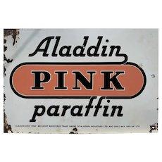 Aladdin Pink Paraffin Enamelled Sign 1920s