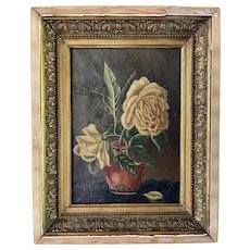 Antique French Oil on Canvas Roses