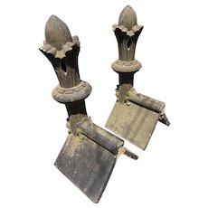 A Pair or Terracotta Ridge Hip End Tiles