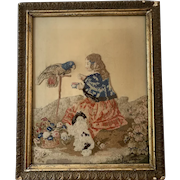 Victorian Needlework Panel of Girl, Parrot and Spaniel