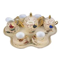 Stunning Early 20th Century Hand Painted Limoges Porcelain Cabaret Set