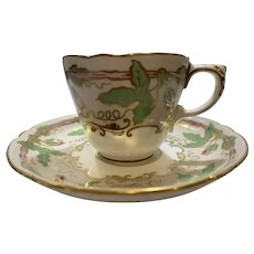Antique Limoges Hans Painted China Cup and Saucer