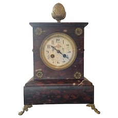 Red Marble French Parisian Clock 1900