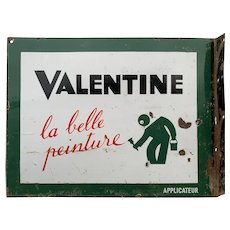 French 1930s Vintage Enamel Sign Green Painting Valentine