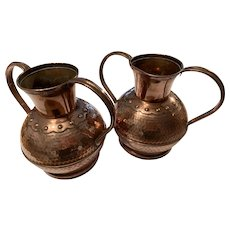 French 1930s Hammered Copper Vases Urns
