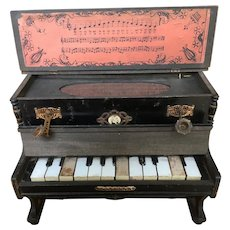 A Miniature Wooden-Cased Victorian piano