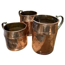 Early 19th Century French Hammered Cooper Jugs
