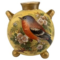Stunning little Victorian Royal Worcester porcelain vase of spherical form decorated with a Chaffinch bird and a Blue Tit