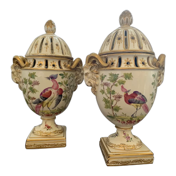 Pair of 19th Century creamware urns and covers