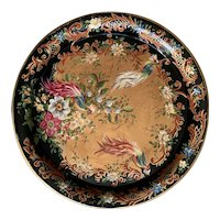 Late 19th Century Black Toleware Circular Tray with hand painted with exotic birds and flowers,
