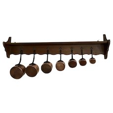 French 1900s Oak Pan Shelf Hanger with Pans