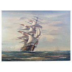Ship At Full Mast Vintage Oil On Board Painting