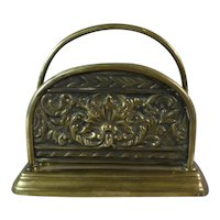 19th Century Brass Letter Rack with Repousse Decoration