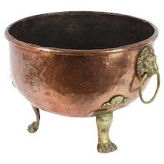 Antique copper circular jardiniére