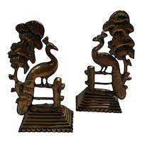 Pair of Late Victorian Brass Mantle Ornaments in the form of Peacocks on a fence