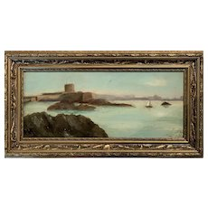 Painting Natural Harbour signed oil 1908