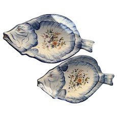 Pair of French Quimper Faience Dishes in the form of Fish