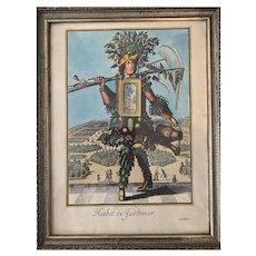 """French 20th Century Engraving """"Habit de Jardiniere"""""""
