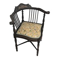 Victorian Inlaid Corner Chair with Alice in Wonderland Liberty fabric