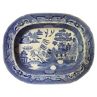 A Beautiful Victorian Willow Pattern Meat Plate
