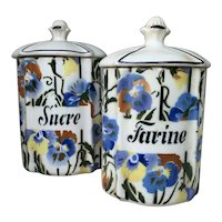 French 1950s Kitchen Storage Jars , Sucre, Farine