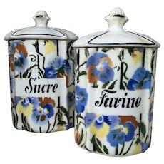 French 1950s Kitchen Storage Jars , Sucre, Farine