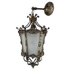 French 1920s Brass Hanging Hall Light