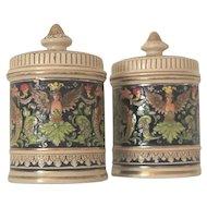 Pair of Early 1900s German Ceramic Tobacco Jar Pots