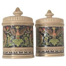Pair of Early 1900s German Ceramic Tobacco Jar Pots