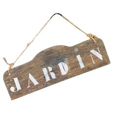 Early 1900s French Jardin Garden Sign