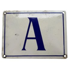 French Enamel Sign letter A