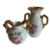 French Vintage Limoges China Mini Dolls House Vases