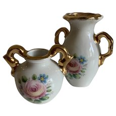 French Vintage Limoges China Mini Dolls House Vases