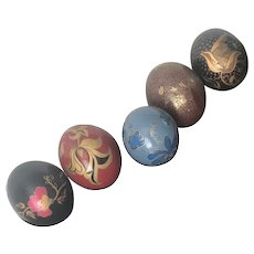 Group of Five Hand Painted Ostrich Eggs