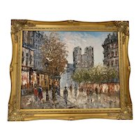 French Vintage Oil on Canvas Parisian Street Schene