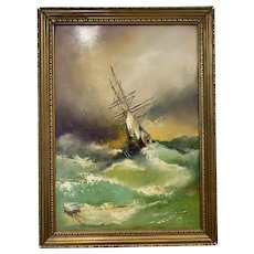 Oil on Canvas Ship Sailing on High Seas