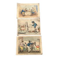 Antique English 1800s Humorous Hand Coloured Engravings Art