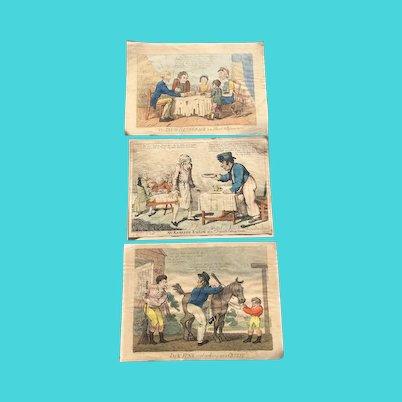 Antique English 1800s Humorous Hand Coloured Engravings Art