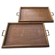 Near Pair of Good Late 19th Century Mahogany and Inlaid Tray