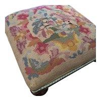 Antique Victoria Needlepoint Embroidered Footstool