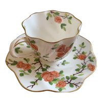 Cup and Saucer Coalport 1750 AD Blossom