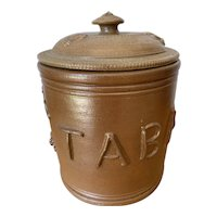Tabac Jar 1800s Glazed Staffordshire Pottery