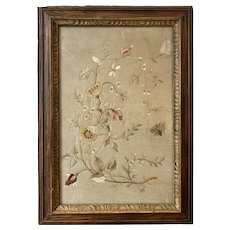 Early 19th Century Silkwork Panel of Flowers and Bee