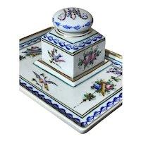 Antique French Serves Porcelain Desk Ink Stand