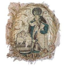 17th Century Silk Embroidered Stumpwork Panel