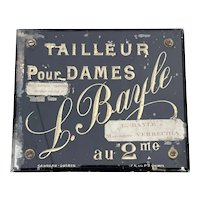 Antique French Glazed Female Tailor Sign