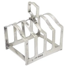A Silver 5 Bar Art Deco Toast Rack with  Central Handle