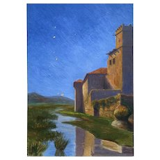 Vintage Oil on Board Tuscany Church